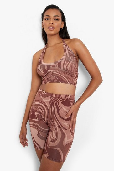 Chocolate brown Marble Slinky Halterneck & Cycling Shorts