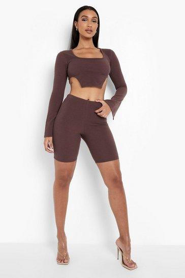 Chocolate brown Rib Flared Sleeve Crop & Cycling Shorts