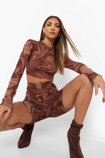 Chocolate brown Marble Mesh Crop & Cycling Shorts