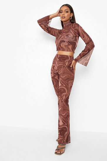Chocolate brown Marble Mesh High Neck Crop & Flared Trousers