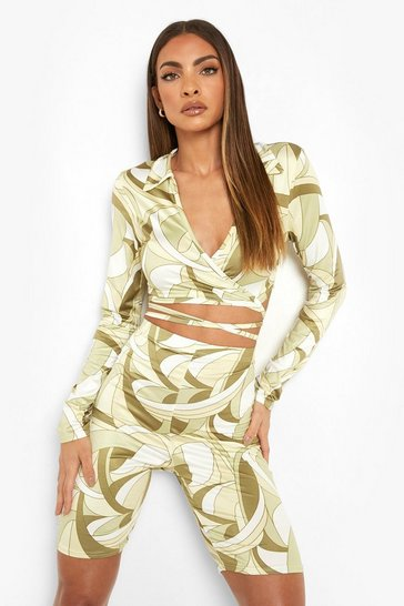 Olive green Abstract Slinky Wrap Crop & Cycling Shorts