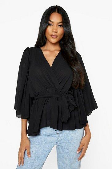 Black Angel Sleeve Wrap Peplum Blouse