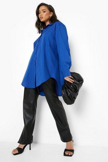 Cobalt blue Oversized Cotton Shirt