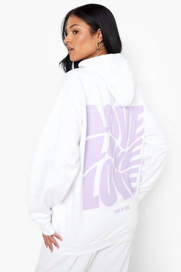 White Tall Love Slogan Hoodie