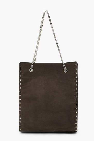 Grey Studded Tote Bag With Chain Detail