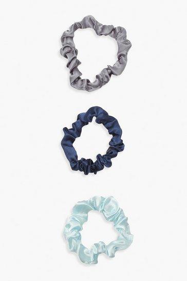 3 Pack Blue Skinny Satin Scrunchies