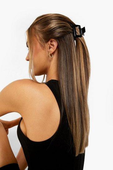 Black Mini Square Cut Out Hair Clip
