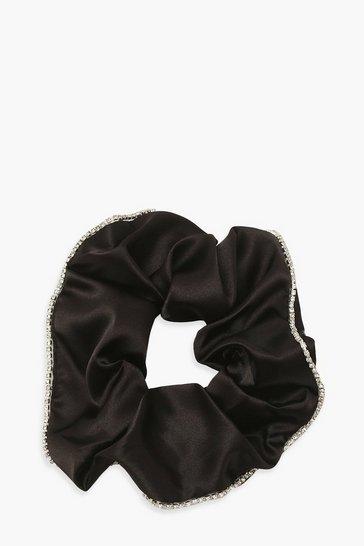 Black Diamante Trim Satin Scrunchie