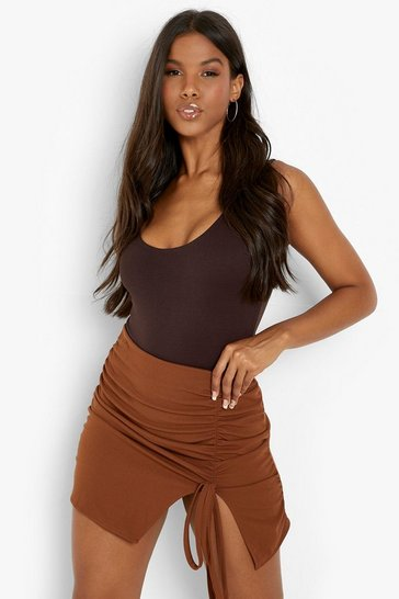 Brown Ruched Split Front Woven Mini Skirt