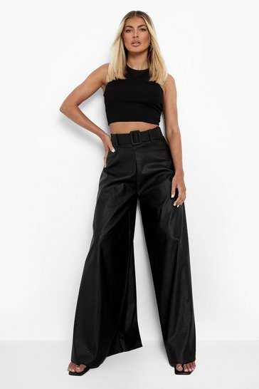 Black Pu Belted Wide Leg Trouser