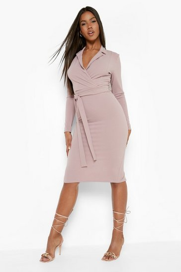 Mauve purple Tailored Belted Midi Dress