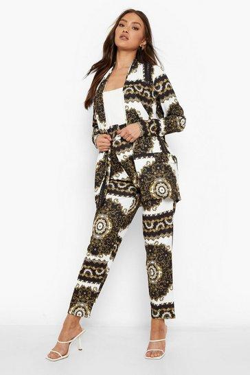 Black Baroque Print Blazer & Belted Trouser Set