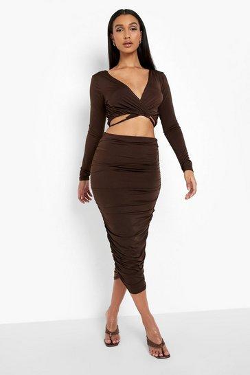 Chocolate brown Slinky Wrap Crop & Ruched Midi Skirt