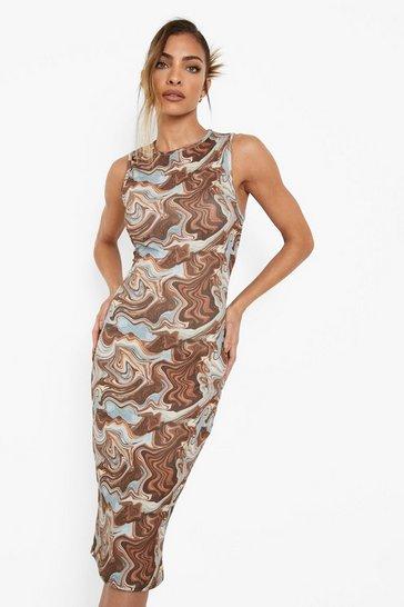 Chocolate brown Marble Crinkle Racer Bodycon Midi Dress