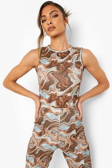 Chocolate brown Marble Crinkle Racer Bodysuit
