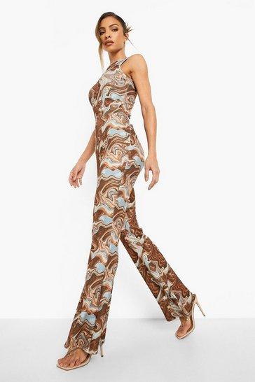 Chocolate brown Marble Crinkle Skinny Flared Trousers