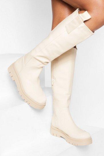 Cream white Rubber Knee High Boot