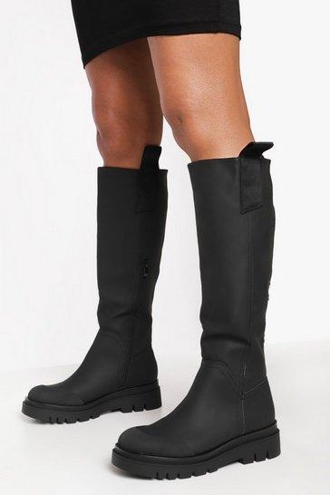 Black Rubber Knee High Boot