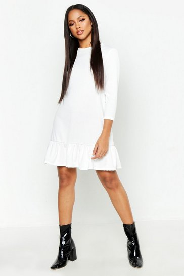 Ivory white Jersey Ruffle Hem Shift Dress