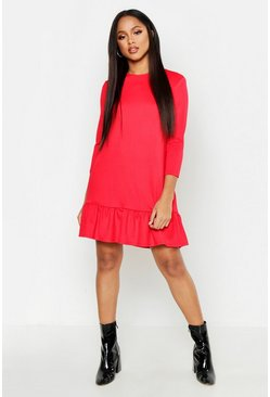 Red Jersey Ruffle Hem Shift Dress