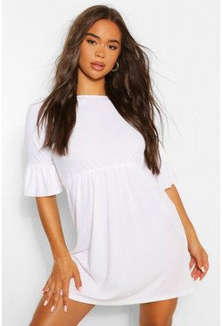 White Rib Frill Sleeve Smock Dress