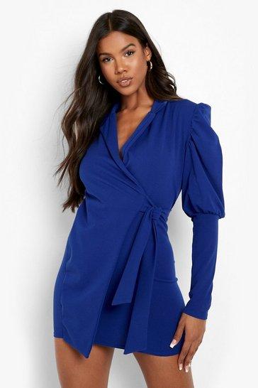 Cobalt blue Puff Sleeve Wrap Blazer Dress