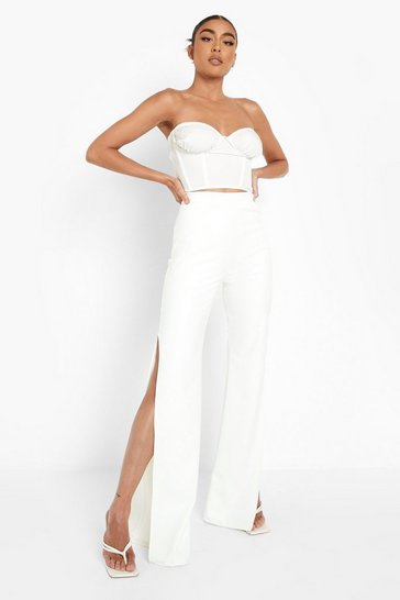 White Extreme Split Side Faux Leather Trousers