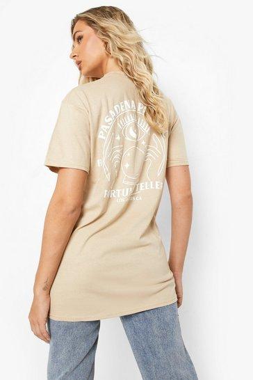 Sand beige Fortune Teller Back Print T Shirt