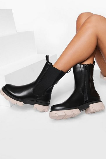Black Calf Height Contrast Sole Chelsea Boot