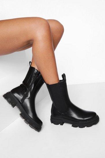 Black Chunky Calf Height Chelsea Boot