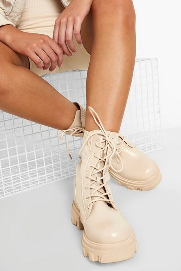 Cream white Cleated Knit Detail Hiker Boot