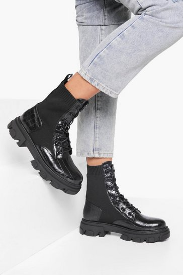 Black Cleated Knit Detail Croc Hiker Boot