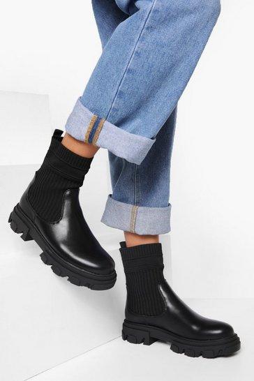 Black Knitted Gusset Chelsea Boot