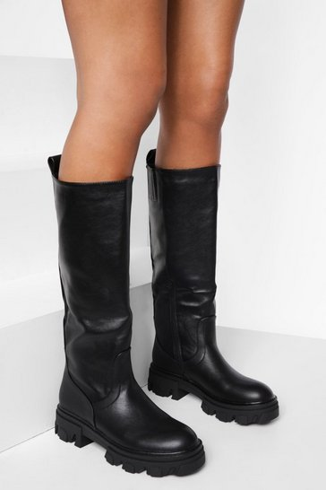 Black Cleated Sole Pull On Knee High Boot