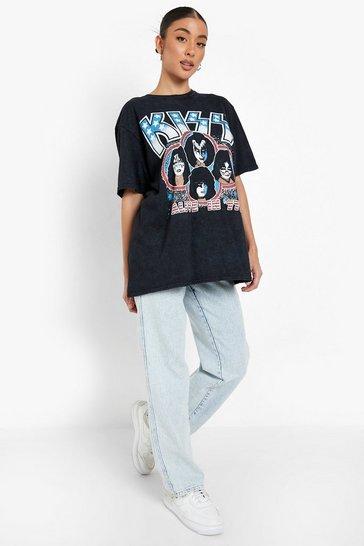 Charcoal grey Kiss License Print Acid Wash T-shirt