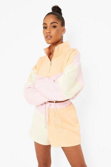 Multi Pastel Colour Block Half Zip Sweat