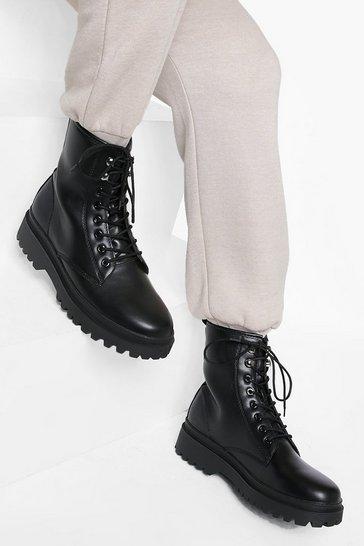 Black Lace Up Pu Hiker Chunky Boots