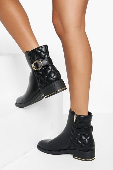 Black Quilted Buckle Detail Chelsea Boots
