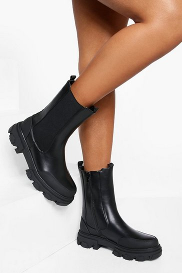 Black Cleated Calf Height Chelsea Boot