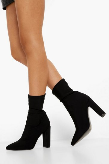Black Pointed Toe Stretch Sock Boot