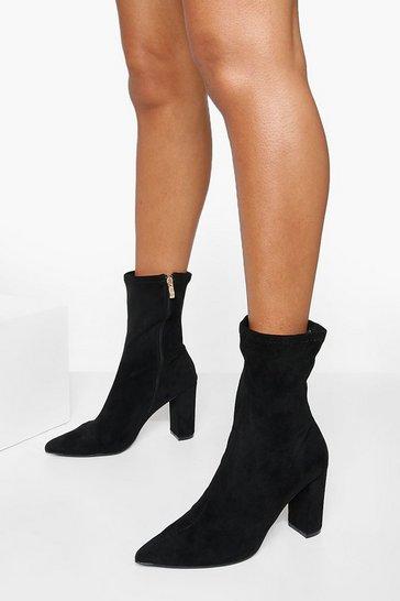 Black Stretch Block Heel Sock Boot