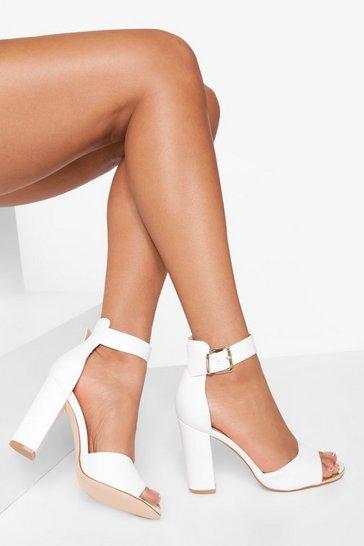 White Buckle Detail 2 Part Block Heel Sandal