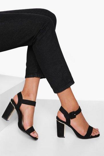 Black Block Heel 2 Part Sandal