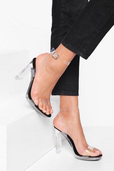 Black Clear 2 Part Platform Sandal