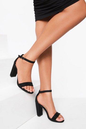Black Basic 2 Part Block Heel