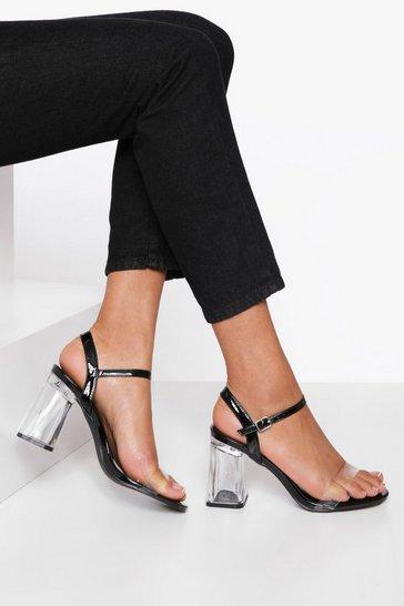 Black Clear Heel Chunky Heel 2 Part Sandal