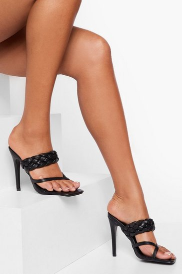 Black Double Strap Heeled Mules