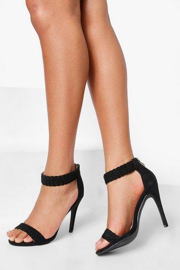 Black Skinny Heel 2 Part Sandal