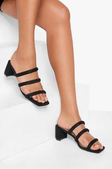 Black Triple Strap Low Block Heels