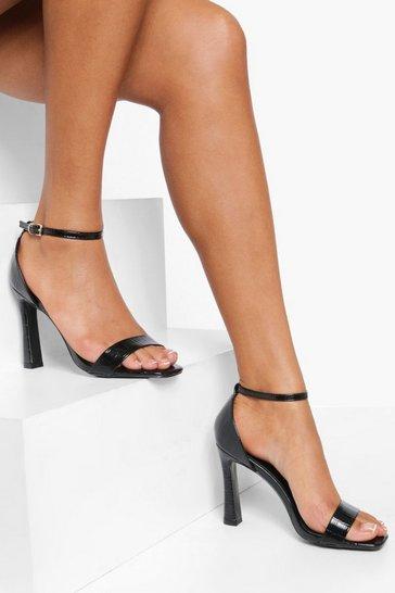 Black Croc 2 Part Heels